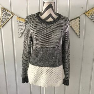 Madewell Gray and White Color Block Sweater